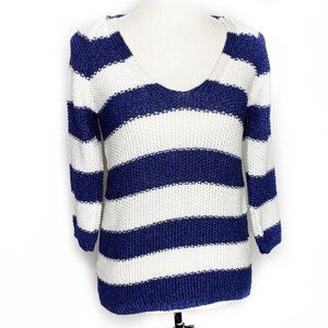 Zara Knit Navy & White Sweater Size Small